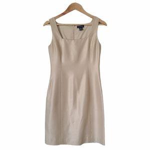 ANN TAYLOR Silk Dress Sheath Sleeveless Champagne